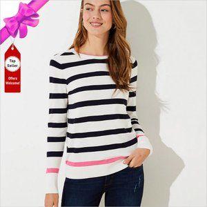 NWT LOFT Classic Crew Neck Striped Sweater